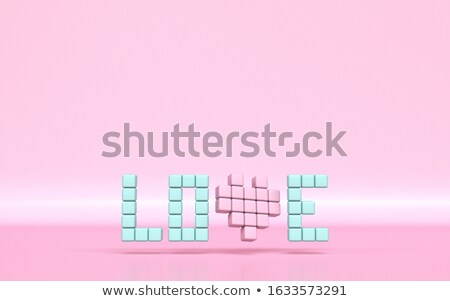 Text LOVE made of pixels 3D Stock photo © djmilic