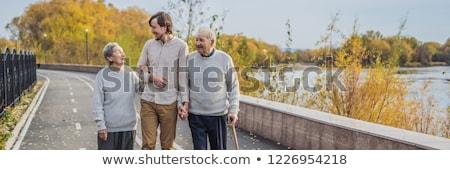 バナー 長い フォーマット 高齢者 カップル 公園 ストックフォト © galitskaya
