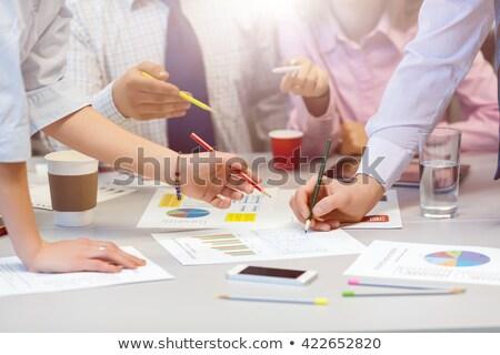 Discussing colors of printed media Stock photo © pressmaster