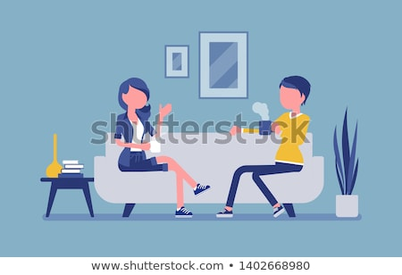 Woman at Home, Roommates at Living Room Vector Stock photo © robuart