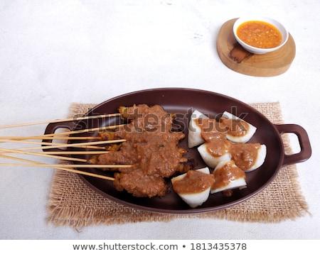肉のグリル 務め ピーナッツ ソース キュウリ 伝統的な ストックフォト © galitskaya