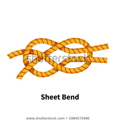 Sheet Bend sea knot. Bright colorful how-to guide on white Stock photo © evgeny89
