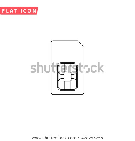 Phone sim card with chip, simple black silhouette Stock photo © evgeny89