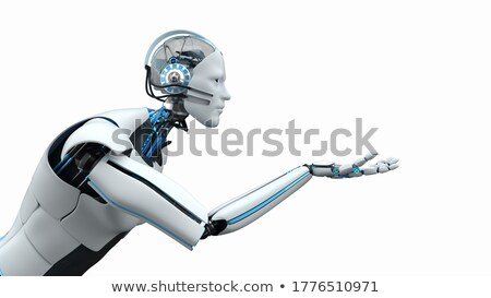Humanoid robot assistant at your service. 3d illustration. Stock photo © limbi007