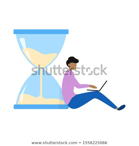 Man Sits on Hourglass Typing on Laptop, Vector Stock photo © robuart