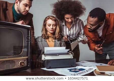Retro office woman. Stock photo © iofoto