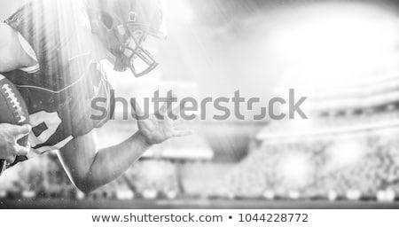 american football field, ball and helmet Stock photo © m_pavlov