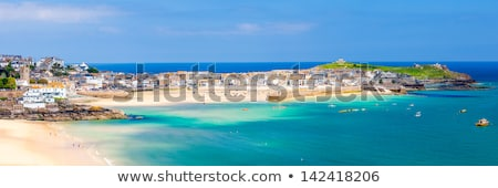 Panoramik görmek liman cornwall gökyüzü okyanus Stok fotoğraf © latent