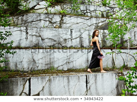 Girl in marble open-cast mine Stock photo © zastavkin