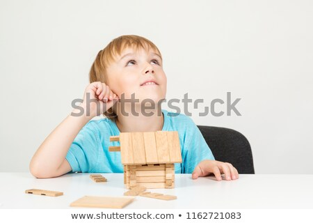 little dreamers in blocks on white Stock photo © morrbyte