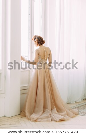 photo · belle · femme · or · robe · fête - photo stock © konradbak