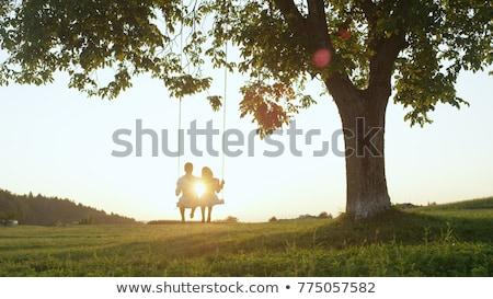 Seven çift açık gökyüzü park gökyüzü gülümseme Stok fotoğraf © get4net