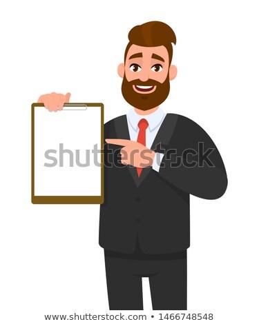 Biznesmen wskazując notatnika działalności człowiek pracy Zdjęcia stock © photography33