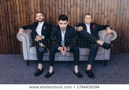 şık · genç · iş · adamı · oturma · kanepe · yalıtılmış - stok fotoğraf © get4net