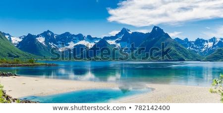 panorama · bergen · sneeuw · zonsondergang · zon - stockfoto © harlekino