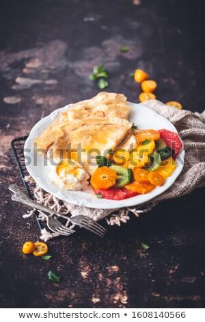 Crêpe chocolade vruchten cake oranje ontbijt Stockfoto © M-studio