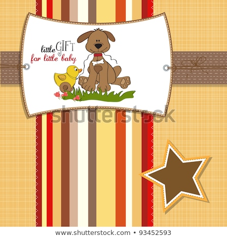 baby shower card with dog and duck toy stock photo © balasoiu