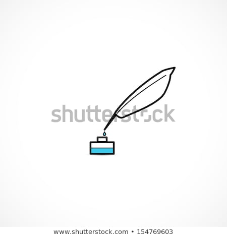 Vector parchment with a pen and ink. Icon for records Stock photo © kolobsek