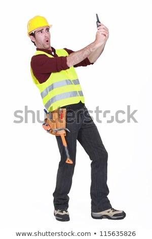 Inşaat güvenlik işçi konuşmak Stok fotoğraf © photography33