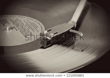 Spinning Vinyl Record Motion Blur Image Vintage Toned Zdjęcia stock © Artush