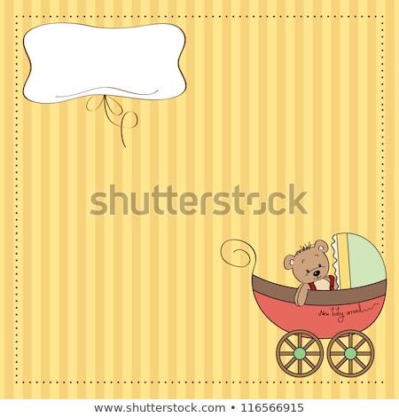 komik · oyuncak · ayı · bebek · duyuru · kart · mutlu - stok fotoğraf © balasoiu