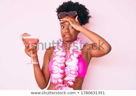 Stock fotó: Nő · bikini · koktél · üveg · dzsúz · szexi