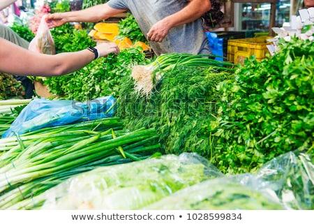different fresh green herbs on market outdoor Stock photo © juniart