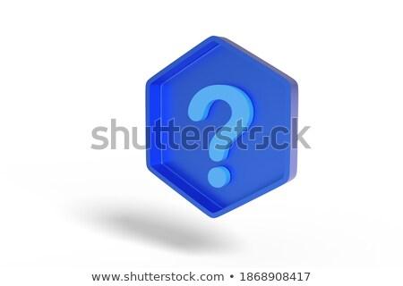 question sign in blue hexagon Stock photo © marinini