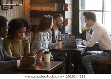 empresária · falante · móvel · café · jovem · sessão - foto stock © vlad_star
