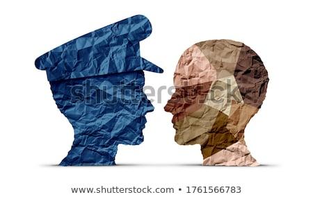 politieagent · gevangene · 3d · illustration · abstract · hand · veiligheid - stockfoto © brux