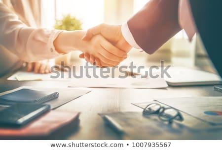 Drżenie rąk dwie osoby człowiek kobieta odizolowany biały Zdjęcia stock © oly5