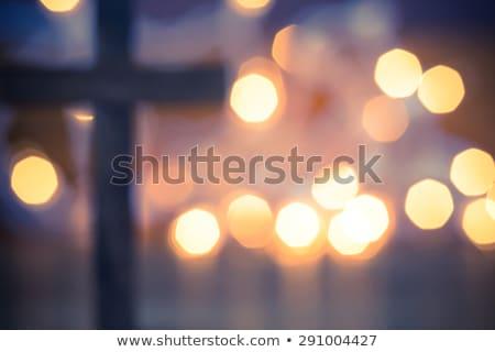 Keresztény kereszt Krisztus mező égbolt fű Stock fotó © premiere