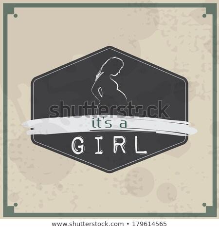 baba · közlemény · kártya · terhes · nő · új · család - stock fotó © maxmitzu