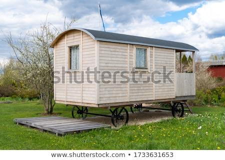 Buitenkant moderne caravan Engeland Blauw Stockfoto © speedfighter