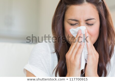 женщину сморкании белый ткань рук Сток-фото © jaycriss