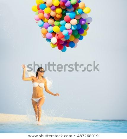 Rood · ballon · iemand · blauwe · hemel · hemel - stockfoto © monkey_business