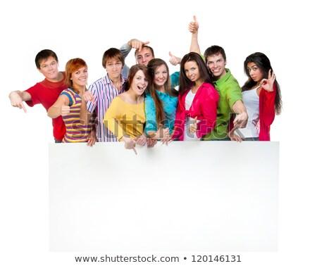boldog · fiatal · lezser · pár · nagy · tábla - stock fotó © feedough