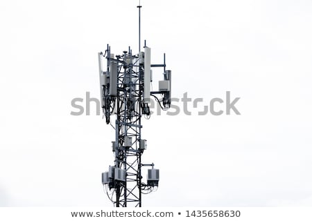 gsm · antenna · kék · ég · telefon · fém · hálózat - stock fotó © stevanovicigor