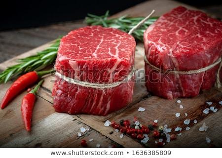 raw beef steak and chilli pepper stock photo © jirkaejc