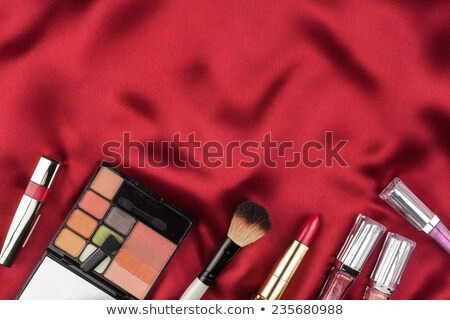 beautiful picture of cosmetic on red satin stock photo © alekleks
