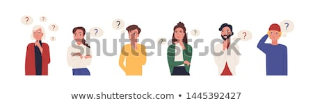 cartoon woman pointing with thought bubble Stock photo © lineartestpilot