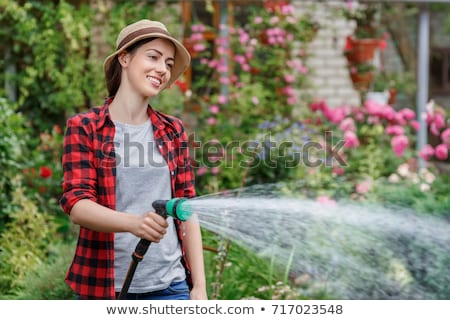Portrait of a smiling woman is watering a garden Stock photo © deandrobot