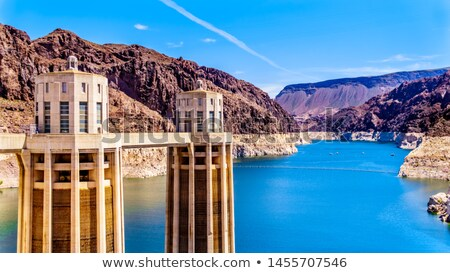 two dams of mountain reservoir in Colorado Stock photo © PixelsAway