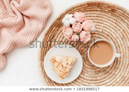 Tasty morning breakfast on a wicker tray Stock photo © ozgur