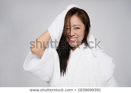 Portret gelukkig mooie vrouw handdoek permanente geïsoleerd Stockfoto © deandrobot