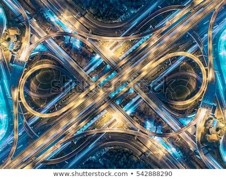 Forgalom éjszaka út elágazás hosszú expozíció tájkép Stock fotó © Mikko