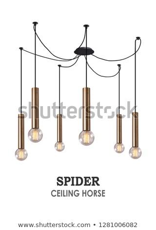 Suspension lampes blanc noir résumé lumière design Photo stock © dutourdumonde