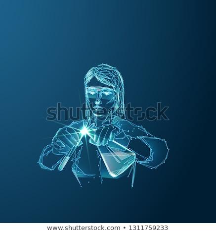 tudós · kémcső · tart · fiatal · hajtás · férfi - stock fotó © rastudio