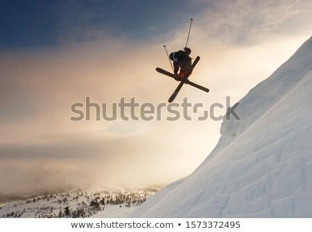Esquiador pôr do sol ilustração esportes neve montanha Foto stock © adrenalina