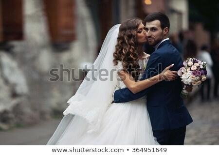 美しい 花嫁 ウェディングドレス 屋外 肖像 ブルネット ストックフォト © Victoria_Andreas